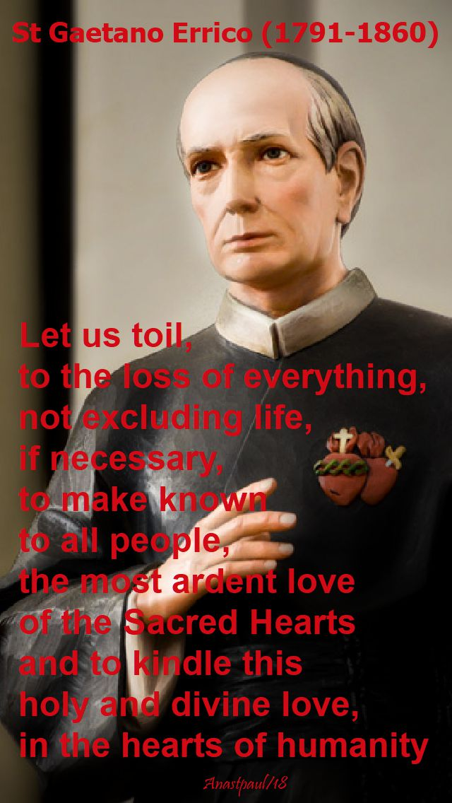 let us toil to the loss of everything - st gaetano errico - 29 oct 2018