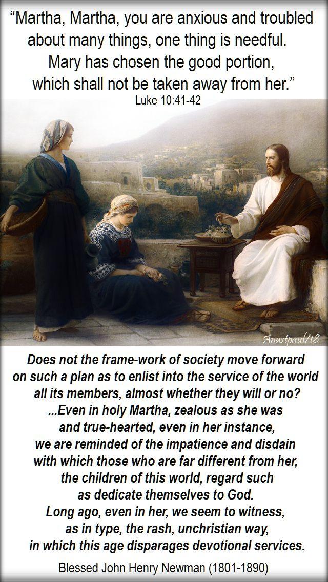 martha martha luke 10 41-42 - does not the frame work of society - bl john henry newman - 9 oct 2018