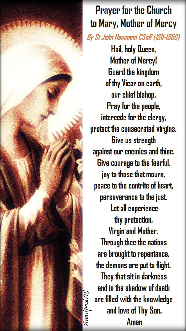 prayer for the church to mary mother of mery - 20 oct 2018 by st john neumann