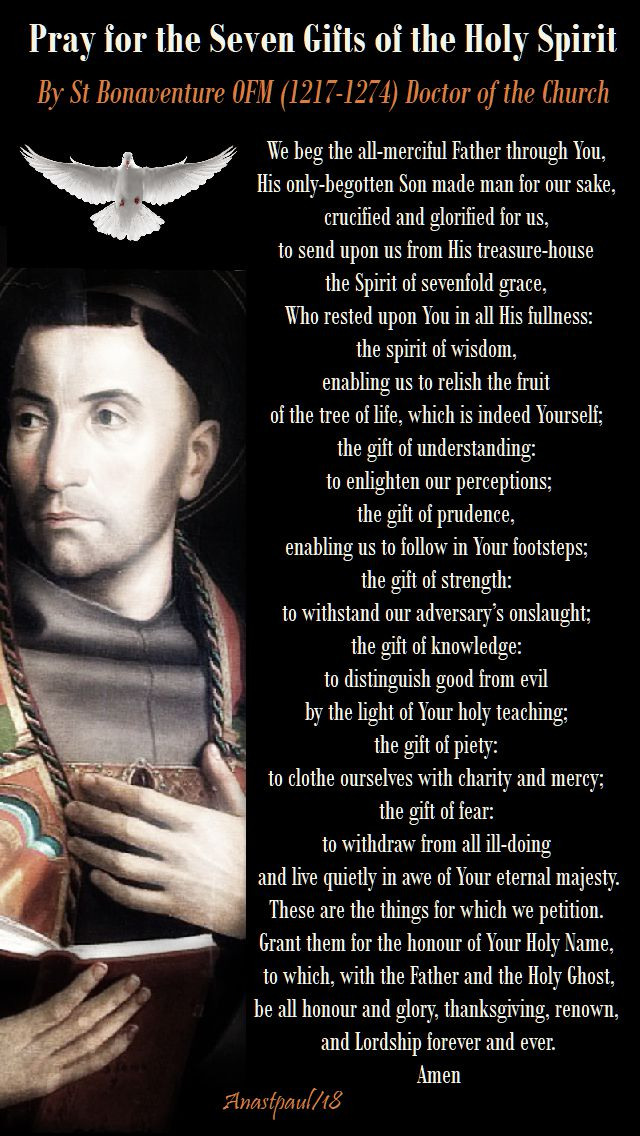 prayer for the seven gifts of the holy spirit by st bonaventure - 30 oct 2018 mem of st angelo of acri