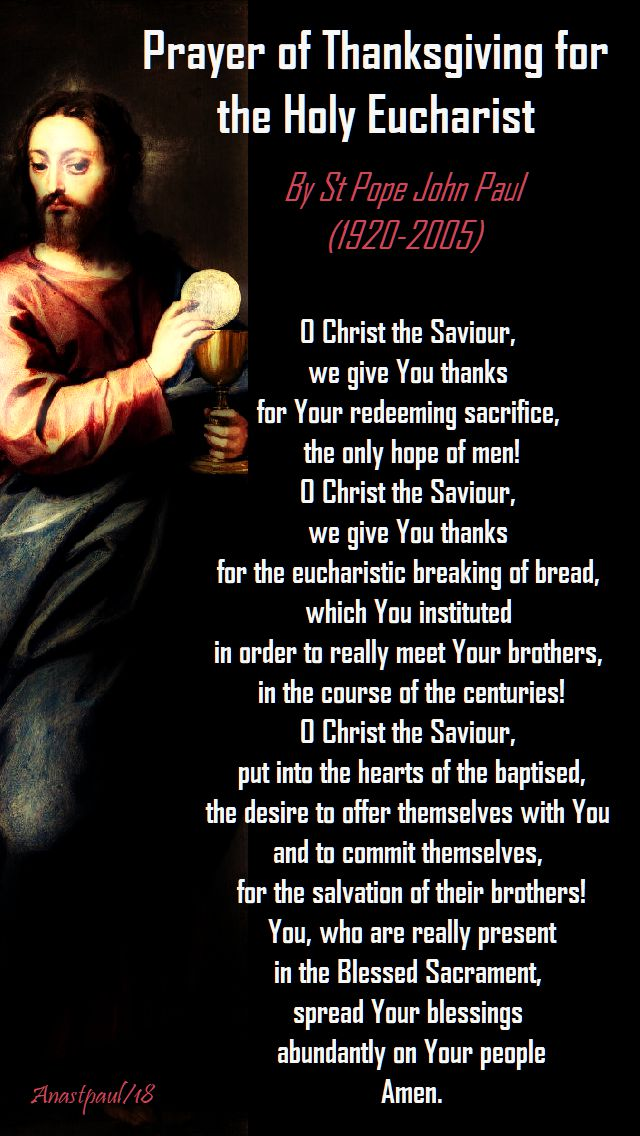 prayer of thanksgiving for the holy eucharist - st pope john paul - 14 oct 2018