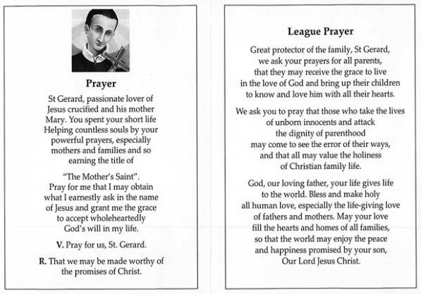 st gerard and league prayer