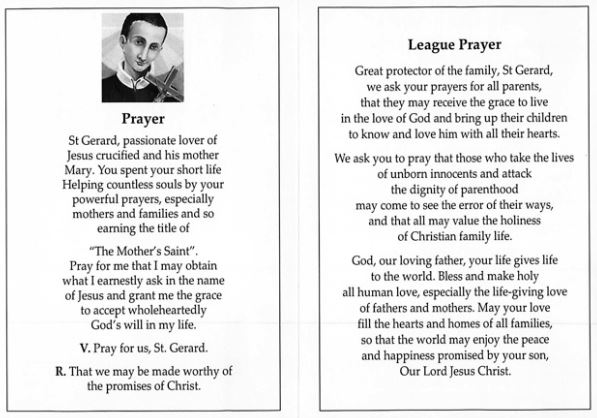 st gerard and league prayer