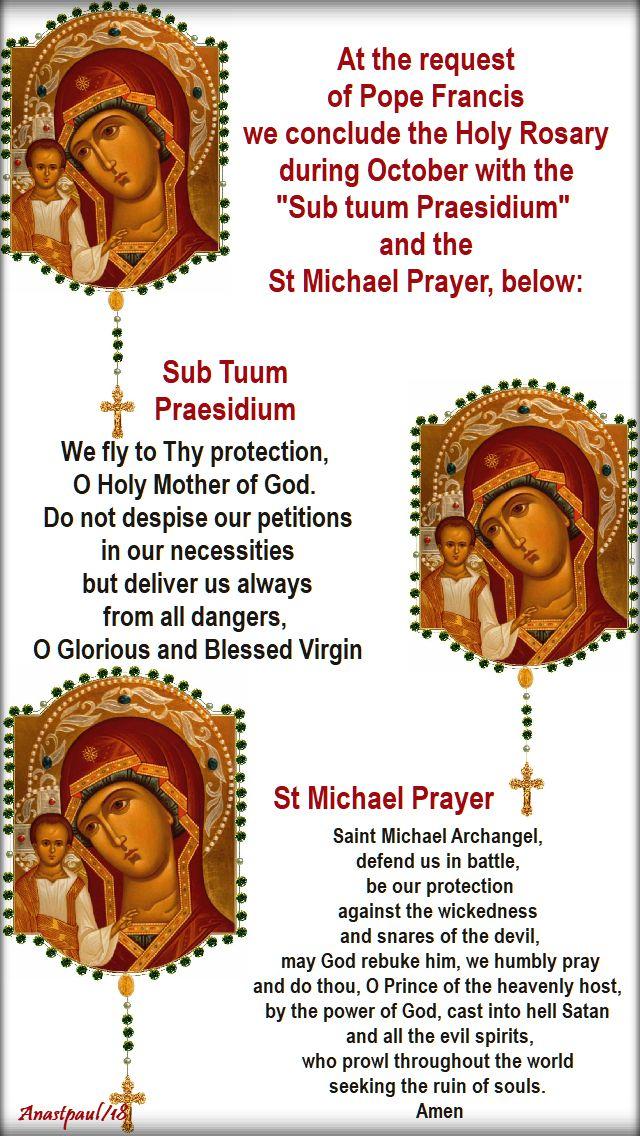 sub tuum and st michael prayer - 6 oct 2018