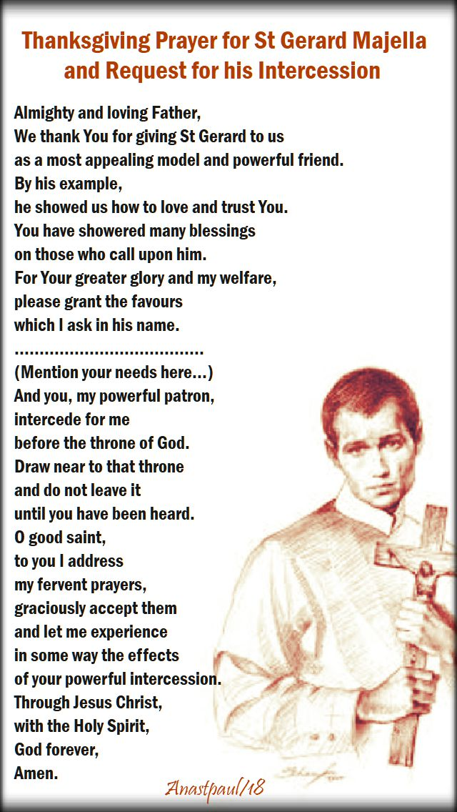 thanksgiving prayer for st gerard majella and request for his intercession - 16 oct 2018