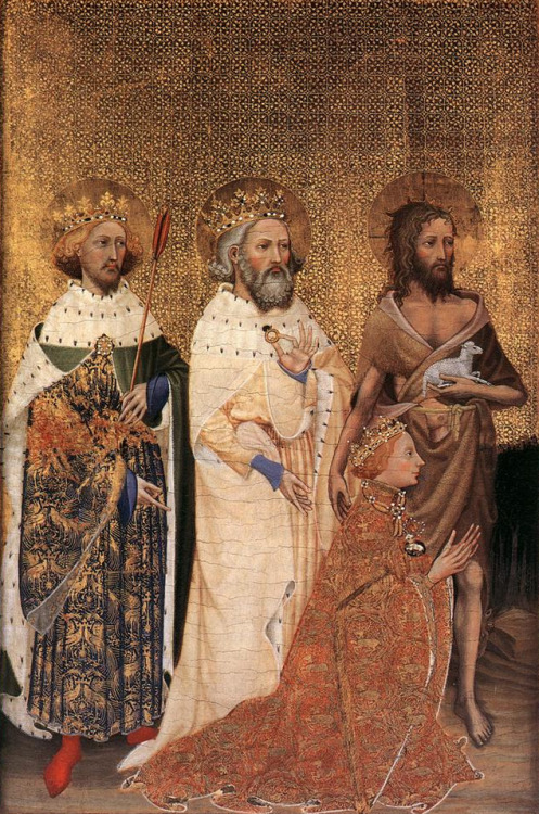 The left panel of the Wilton Diptych, where Edward (centre), with Edmund the Martyr (left) and John the Baptist