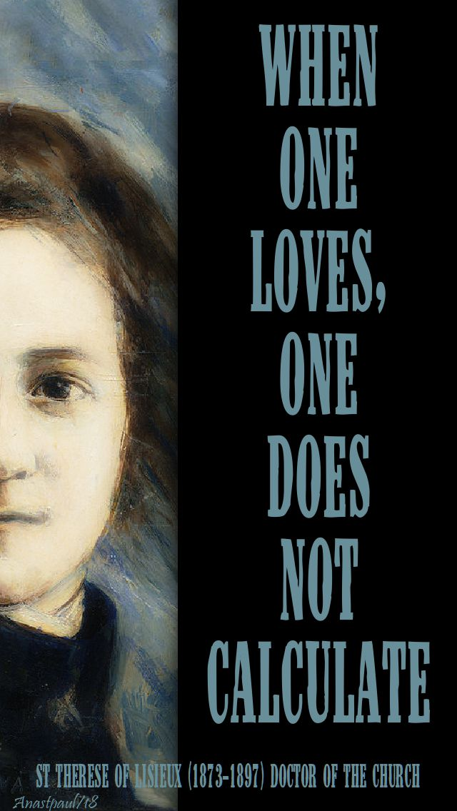 when one loves one does not calculate - st t of l - 1 oct 2018