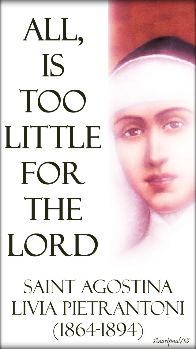 all, is too little for the lord - st agostina pietrantoni - 13 nov 2018