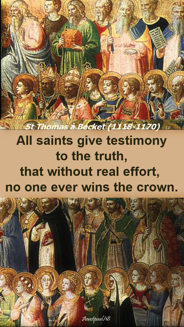 all saints give testimony to the truth - st thomas a becket - 1 nov 2018