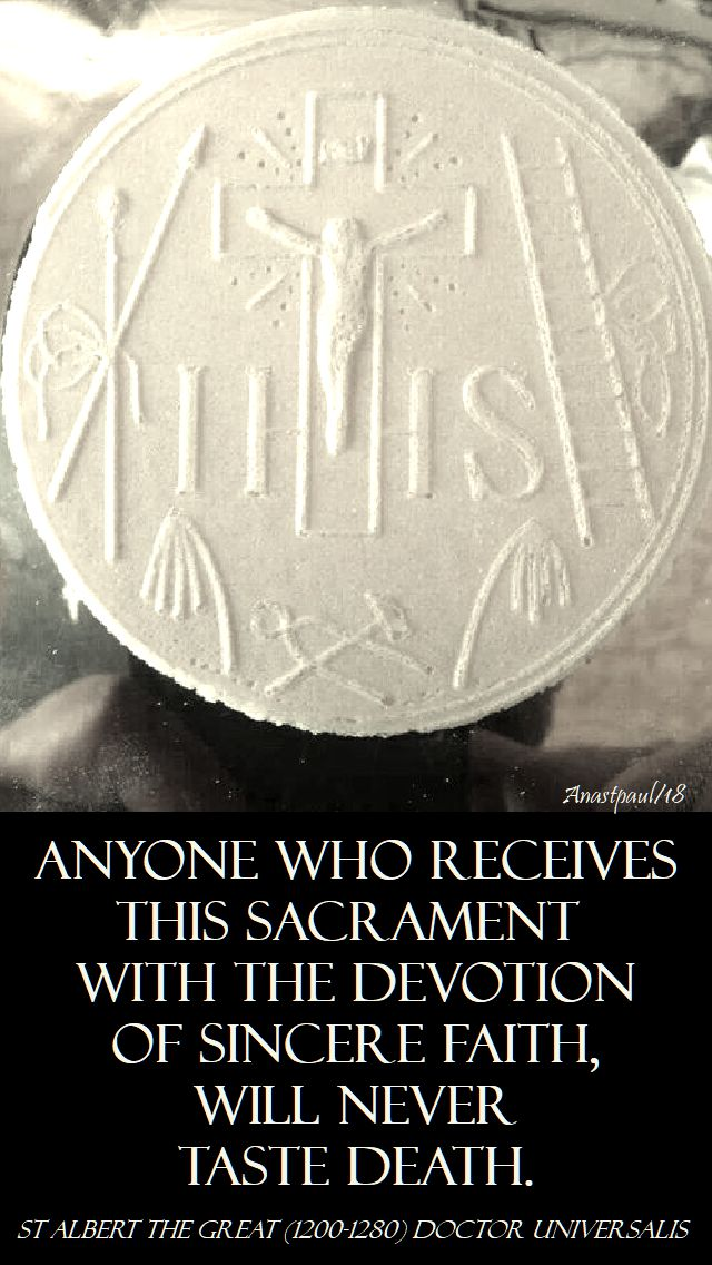 anyone who receives this sacrament - st albert the great - 15 nov 2018