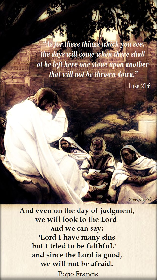 luke 21 6 as for these things which you see the day will come - andevenonthedayofjudgment -pope francis - 26nov2018