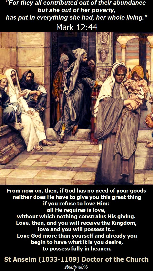 mark 12 44 - but she gave everything - from now on then - st anselm - 11 nov 2018