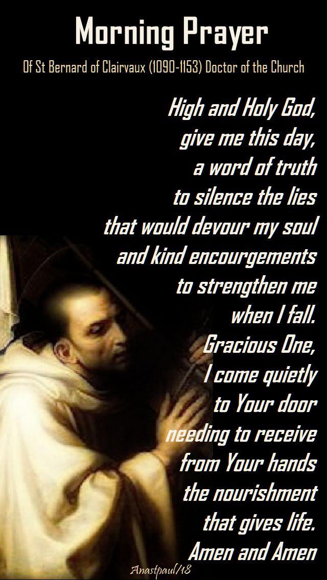morning prayer of st bernard - high and holy god - 7 nov 2018