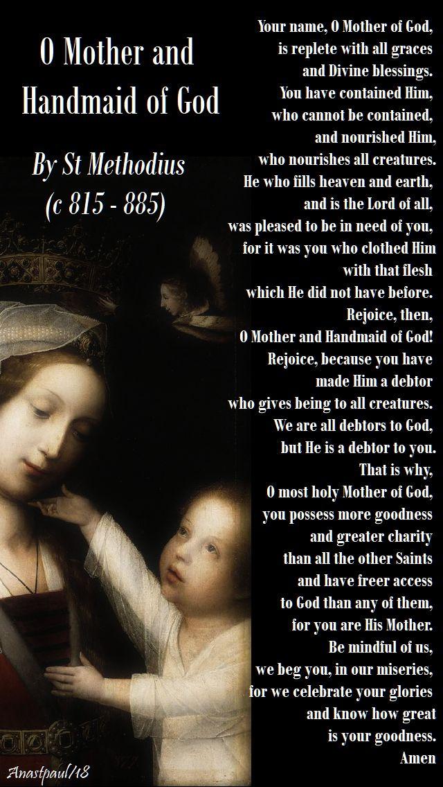 o mother and handmaid of god - st methodius - 23 may 2018