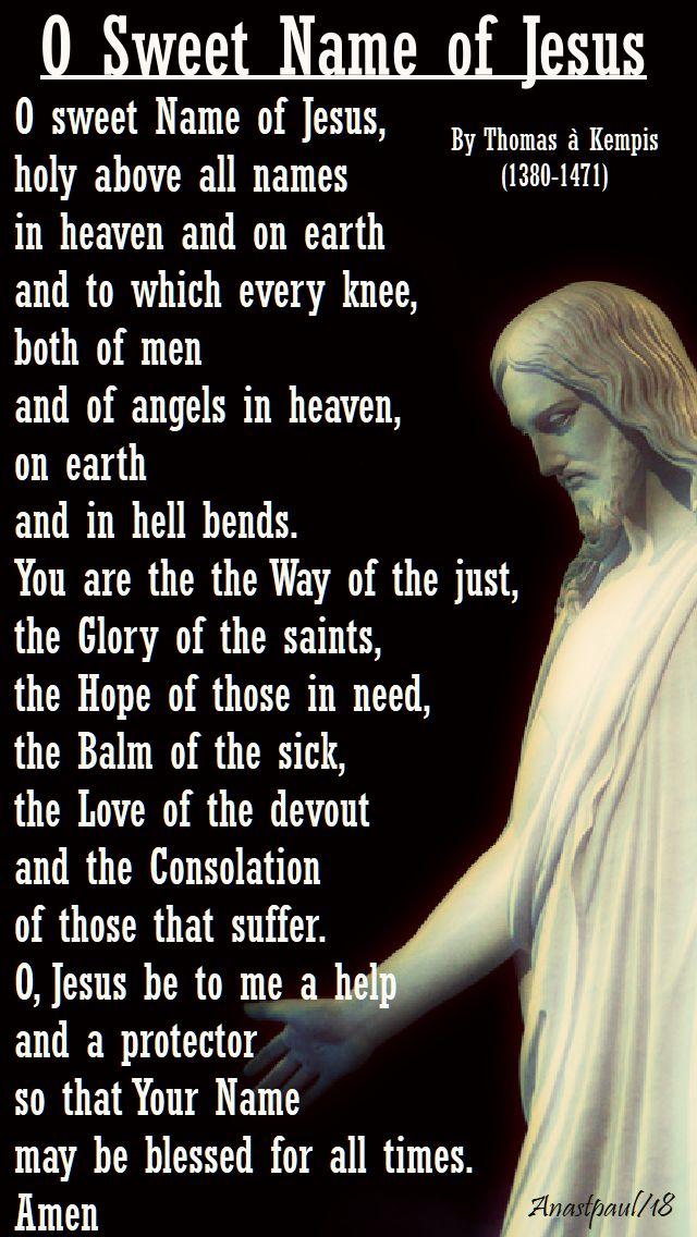 o sweet name of jesus - thomas a kempis - 6 jan 2018