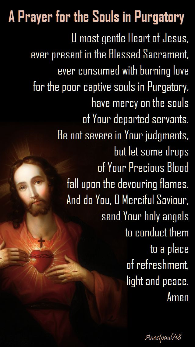 prayer for the holy souls - o most gentle heart of jesus - month of the holy souls 1 nov 2018