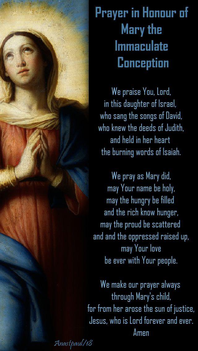 prayer in honour of mary the imm conception - 8 nov mem of bl john dun scotus