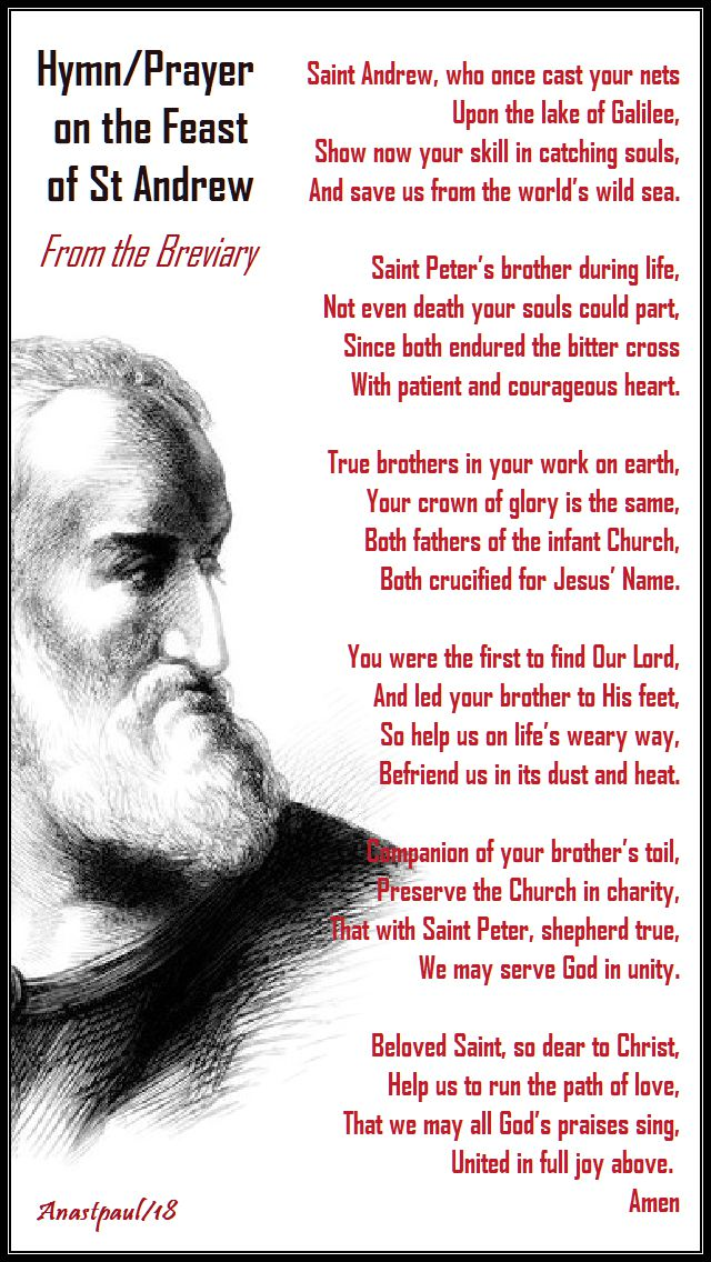 st andrew who once cast your nets - breviary hymn for the feast of st andrew - 30 nov 2018
