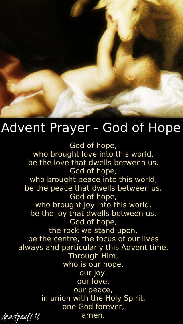 Advent prayer -god of hope 20 dec 2018