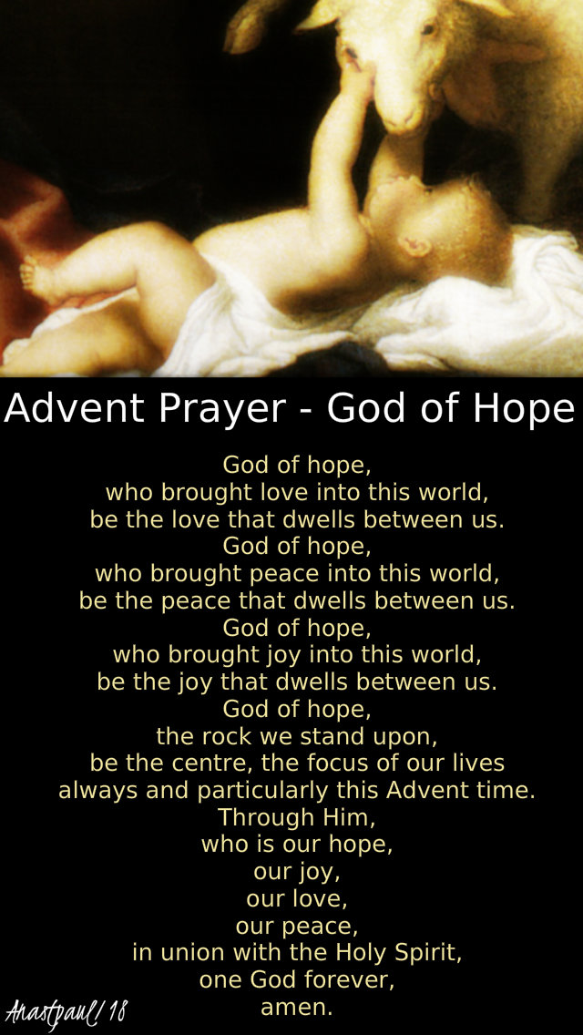 Advent prayer -god of hope 20 dec 2018