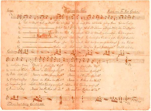 An early copy of Silent Night written by Joseph Mohr