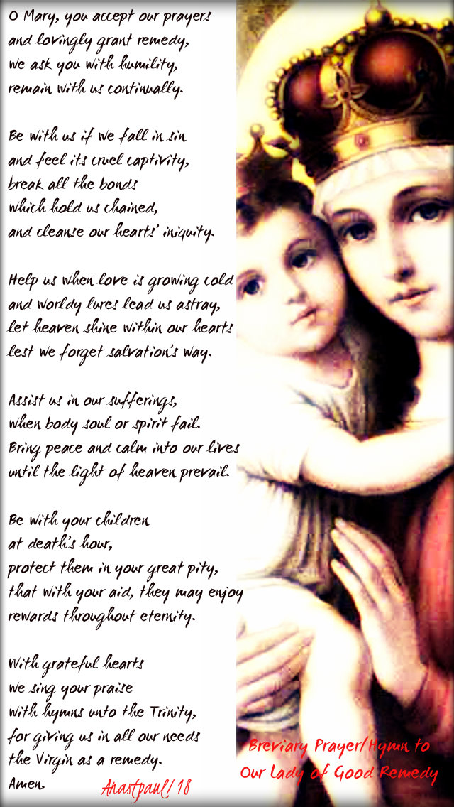 Breviary prayer hymn to our lady of good remedy - 17dec2018 stjohn of matha