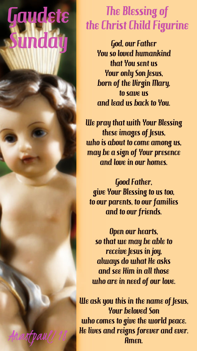 Gaudete sunday the blessing of the Christ child figurine - pope benedict 16dec2018