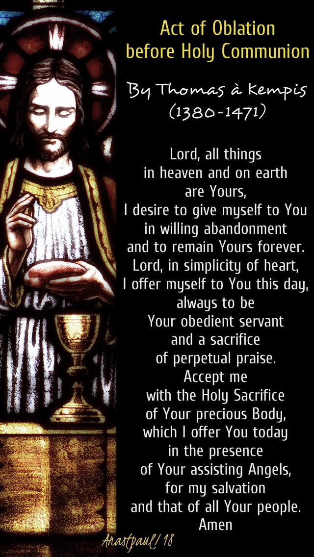 act of oblation before holy comm thomas a kempis 23 dec 2018 4 advent