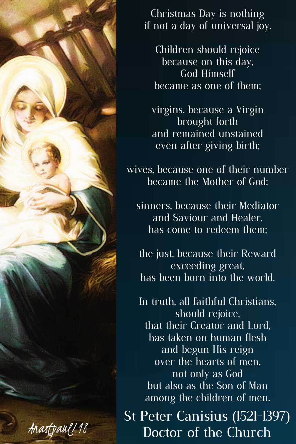 christmas day is nothing if not - st peter canisius - 25 dec 2018
