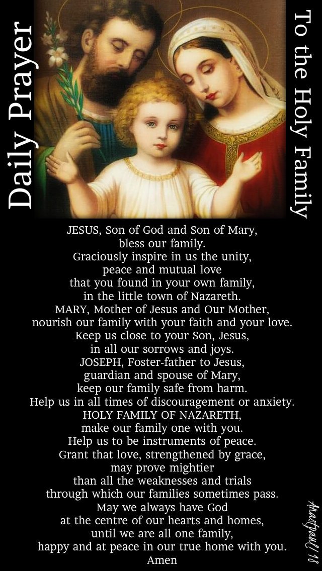 daily prayer to the holy family - 21 dec 2018