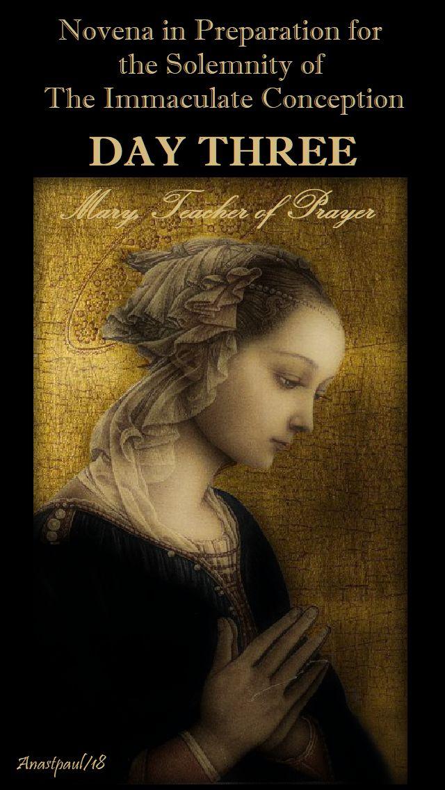 DAY THREE - IMM CONCEPTION NOVENA - MARY TEACHER OF PRAYER