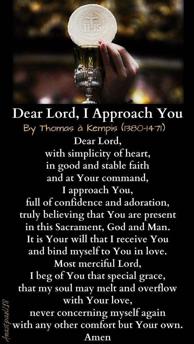 Dear Lord, I Approach You by thomas a kempis 9dec2018