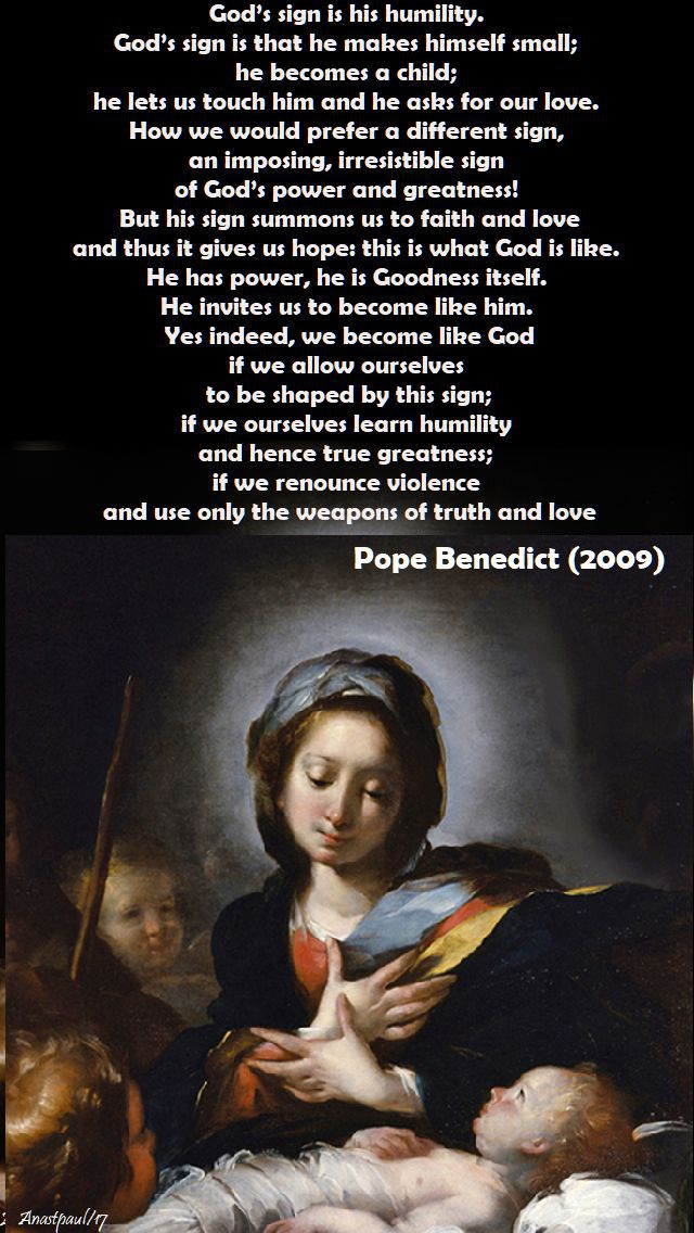 god's sign - pope benedict - 19 dec 2017