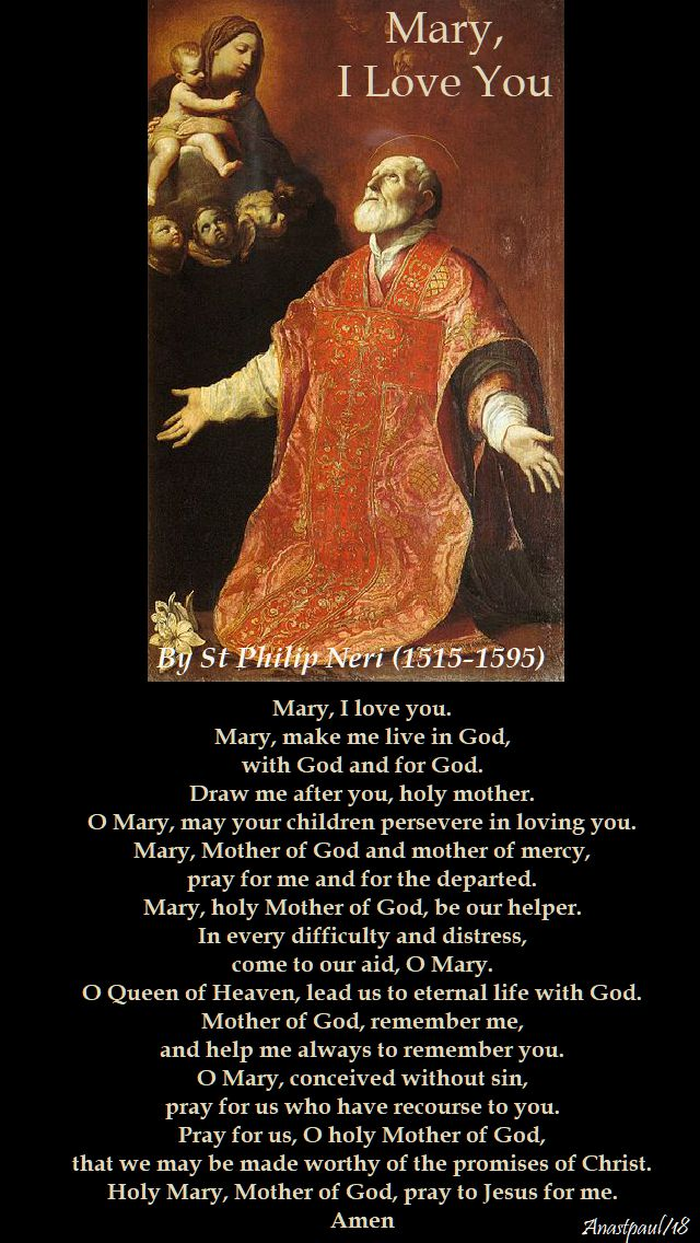 mary I love you by st philip neri - 26 may 2918