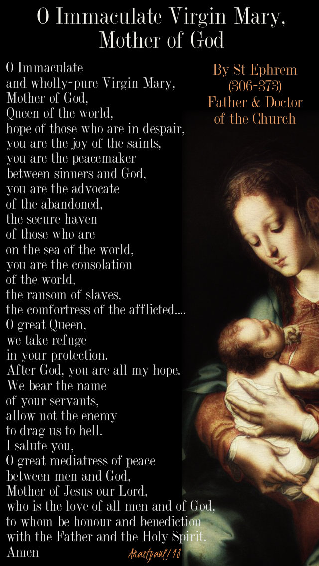 o immac virgin mary mother of god - st ephrem 1 jan 2018