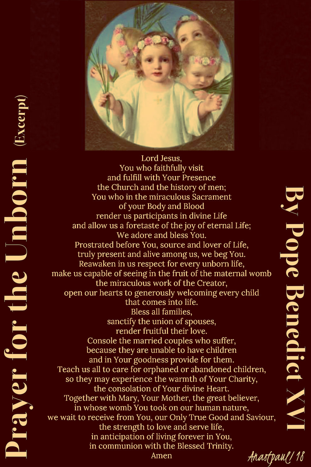 prayer for the unborn pope benedict - 28 dec 2018 holy innocents