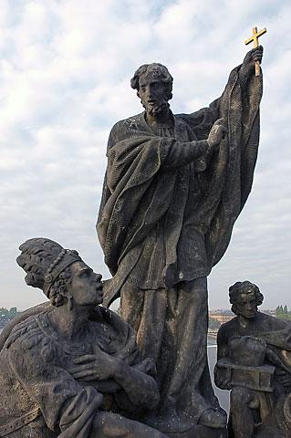 st francis xavier charles bridge prague statue