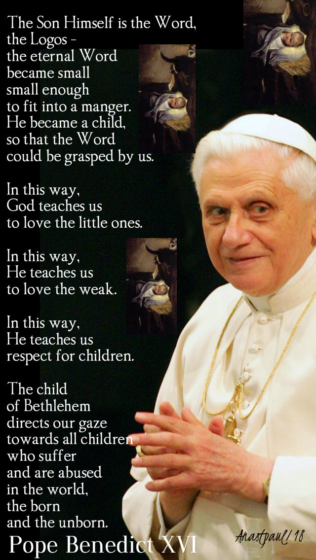 the son himself is the word, the logos - pope benedict 25dec2018