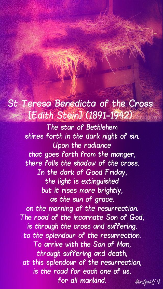 the star of bethlehem shines forth in the dark night - st teresa benedicta 28dec2018