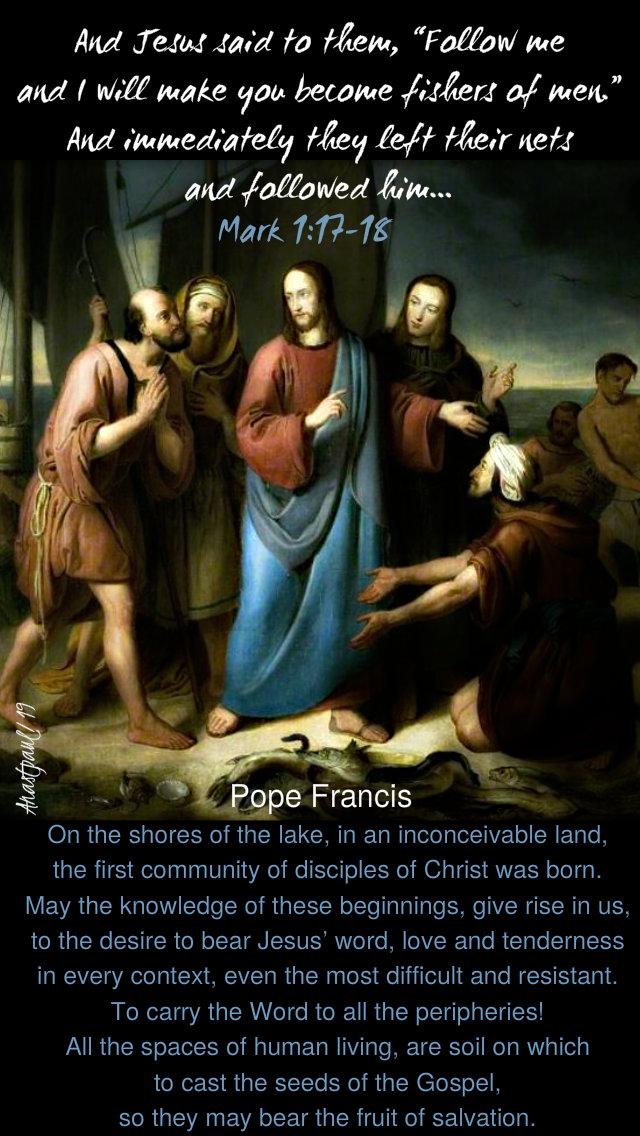 mark 1 17-18 and jesus said follow - on the shores of the lake - pope francis 14 jan 2019.jpg