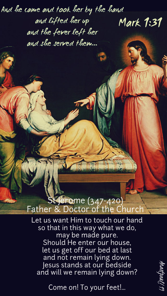 mark 1 31 and he came and took her by the hand - let us want him to touch our hand st jerome 16 jan 2019.jpg