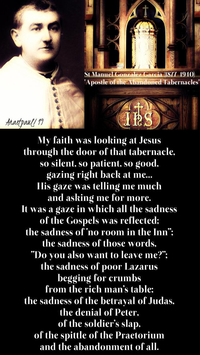 my faith was look at jesus - st manuel gonzalez garcia 4 jan 2019