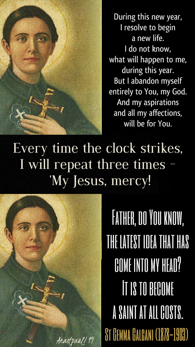 new year quotes - st gemma galgani 1 jan 2019