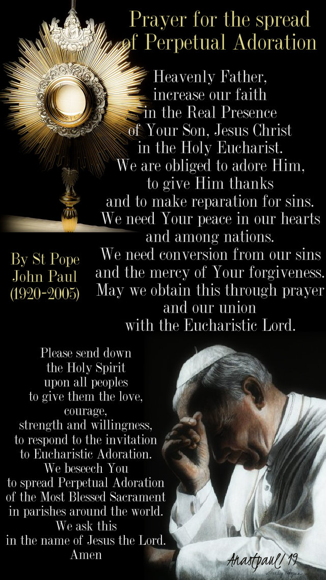 prayer for the spread of eucharistic adoration by st pope john paul 4 jan 2019