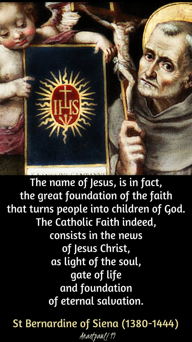 the name of jesus is in fact the reat foundation - st bernardine 3 jan 2019