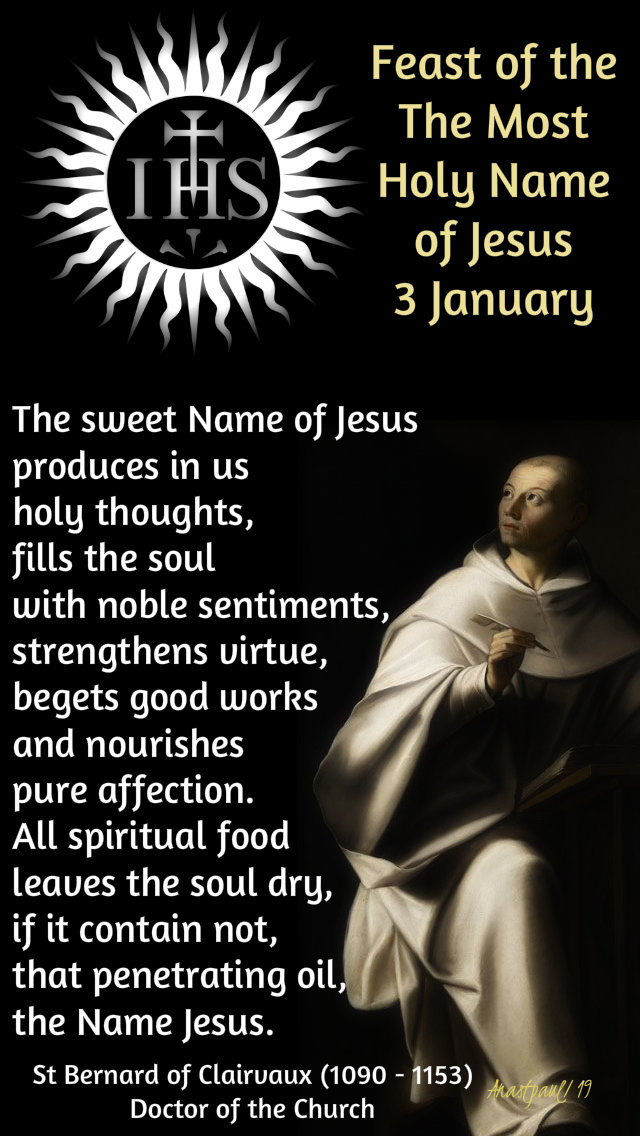 the sweet name of jesus - st bernard - 3 jan 2019