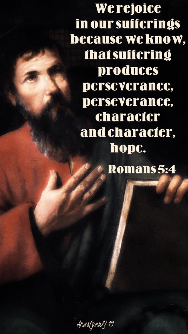 we rejoice in our sufferings - romans 5 4 - 25 jan 2019