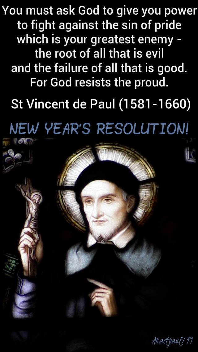 you must ask god to give you power - st vincent de paul - new year's res 1 jan 2019