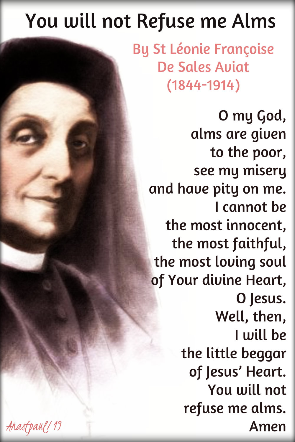 you will not refuse me alms - st leonie aviat 10 jan 2019