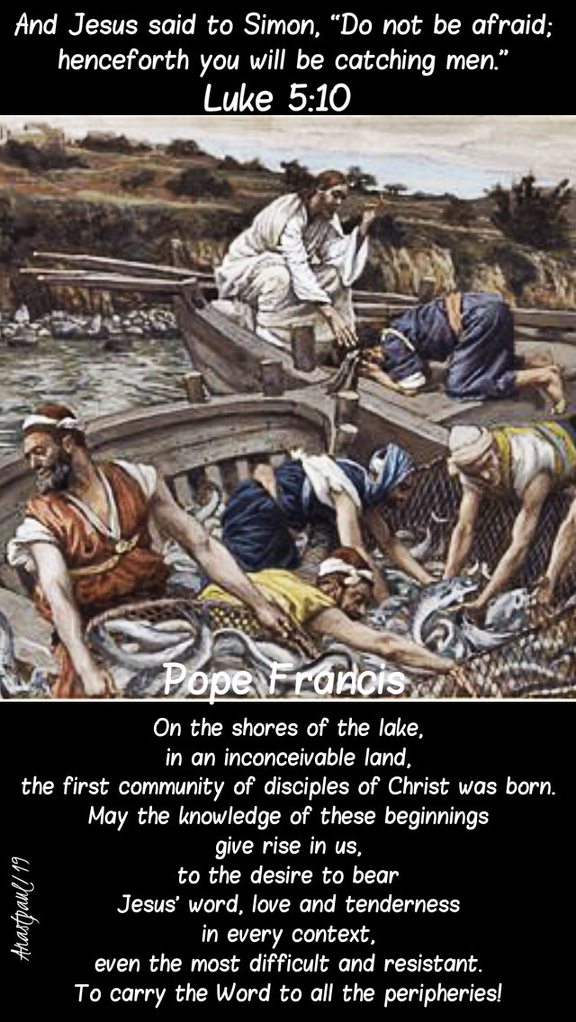 luke 5 10 fishers of men - on the shores of the lake - pope francis 10 feb 2019 sunday 5C.jpg